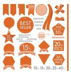 Element Orange Leather labels on summer set vector image