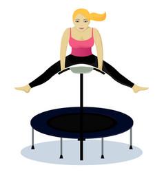 Fitness on trampoline vector
