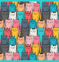 hand drawn cute cat pattern vector image vector image