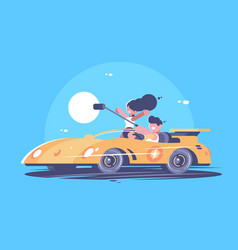 make selfie from car vector image vector image