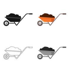 Wheelbarrow icon of for web vector