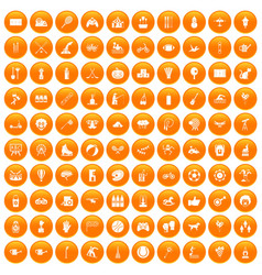 100 kids activity icons set orange vector image vector image