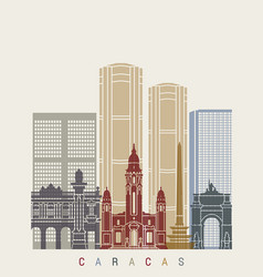 caracas v2 skyline poster vector image vector image