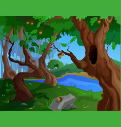 cartoon summer background for a game art with old vector image vector image