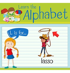 Flashcard alphabet L is for lasso vector image