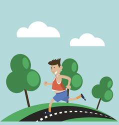 man has jogging outdoors vector image vector image