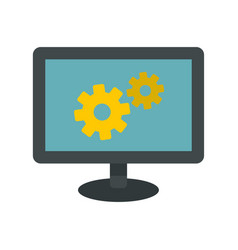 monitor settings icon flat style vector image