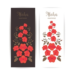 Tropical Cards with Hibiscus Flower vector image vector image