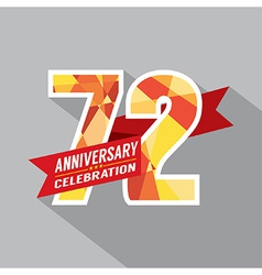 72nd Years Anniversary Celebration Design vector image
