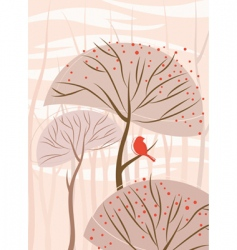 bird with tree vector image vector image