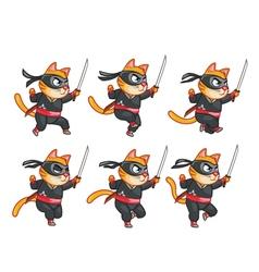 Cat Ninja Running Sprite vector image
