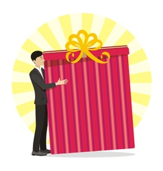 Men with great gift in hand vector image vector image
