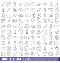 100 database icons set outline style vector