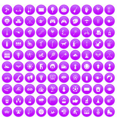 100 kids activity icons set purple vector image