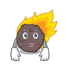 Afraid meteorite mascot cartoon style vector