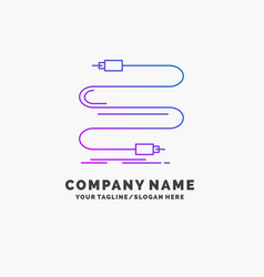 Audio cable cord sound wire purple business logo vector