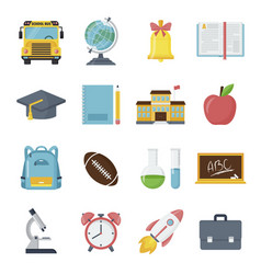 back to school icon set student classroom vector image