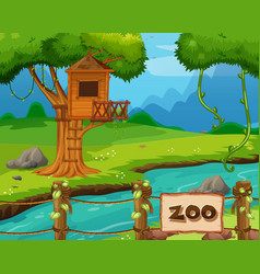 Background scene zoo park with river and vector