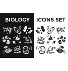 Bacteria virus black and white icons set vector