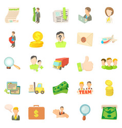 Bank worker icons set cartoon style vector