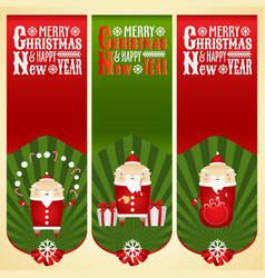 banners with santa claus with christmas items vector image
