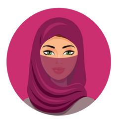 Beautiful muslim arab woman portrait using a red vector