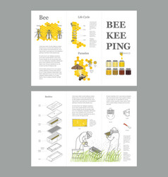 beekeeping honey template with apiculture vector image