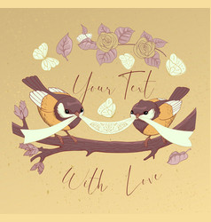 bird couple cute card with vintage flower vector image