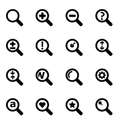 black magnifying glass icon set vector image