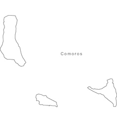 Black White Comoros Outline Map vector image