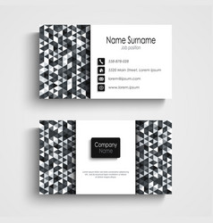 business card with abstract black white triangles vector image