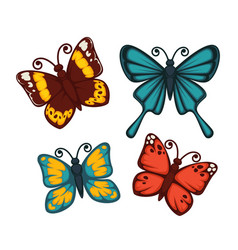 Butterflies in bright colors set isolated on white vector