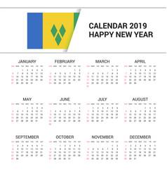 Calendar 2019 saint vincent and grenadines flag vector
