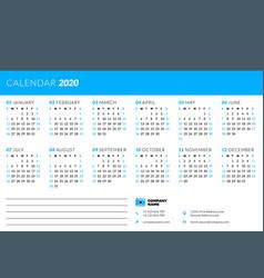 Calendar design template for 2020 year week vector
