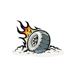 Car wheel with burning fire vector