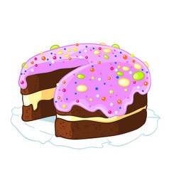 cartoon icon incised chocolate cake with blueberry vector image