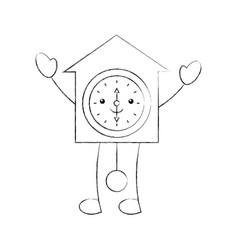 Cartoon vintage clock pendulum decoration office vector