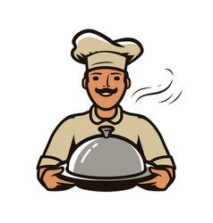 Chef with tray logo restaurant diner food vector