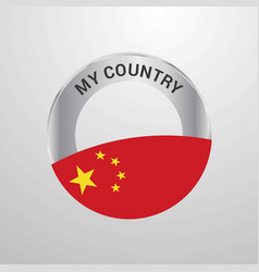 china my country flag badge vector image