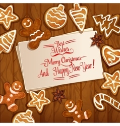 Christmas gingerbread cookie on wooden background vector