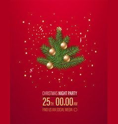 Christmas night party invitation layout with vector