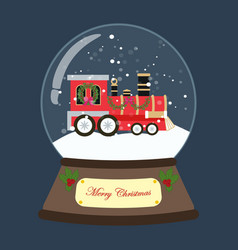 christmas train in snowball vector image