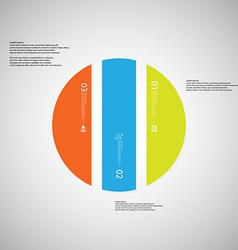 Circle template consists of three color parts on vector