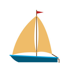 Color silhouette of sailboat icon vector
