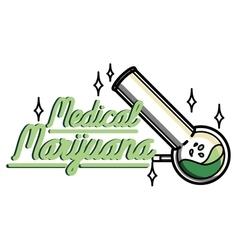 Color vintage medical marijuana emblem vector image