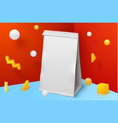 Corner wall abstract scene with paper bag vector