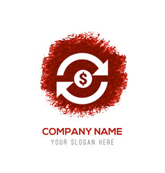 currency convert icon - red watercolor circle vector image