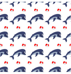 cute dolphins with ball seamless pattern vector image vector image