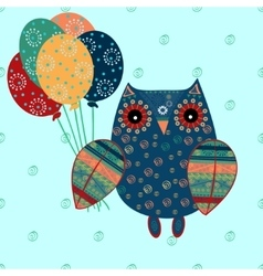 Cute owl with ethnic ornament birthday balloons vector image