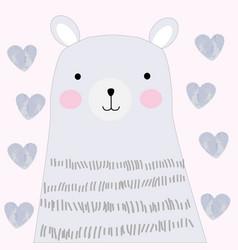 Cute spring teddy blue bear doodle art vector